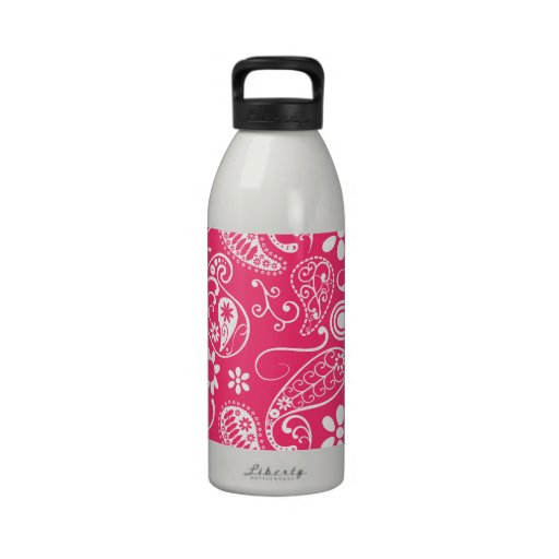 Hot Pink Paisley; Floral Reusable Water Bottle