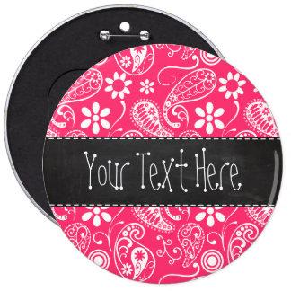 Hot Pink Paisley Vintage Chalkboard Pin