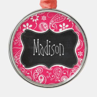 Hot Pink Paisley; Vintage Chalkboard Christmas Ornament