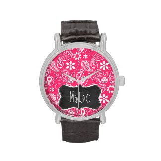 Hot Pink Paisley; Vintage Chalkboard Watches