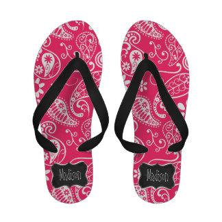 Hot Pink Paisley; Vintage Chalkboard Flip-Flops