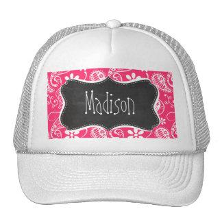 Hot Pink Paisley; Vintage Chalkboard Trucker Hats