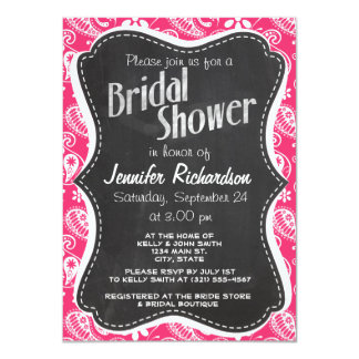 "Hot Pink Paisley; Vintage Chalkboard 4.5"" X 6.25"" Invitation Card"