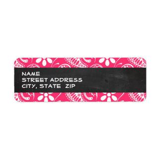 Hot Pink Paisley; Vintage Chalkboard Return Address Label