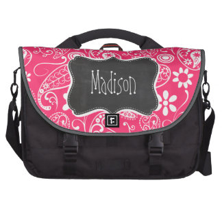 Hot Pink Paisley; Vintage Chalkboard Bags For Laptop