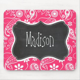 Hot Pink Paisley Vintage Chalkboard Mouse Pad