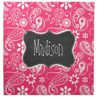 Hot Pink Paisley; Vintage Chalkboard Printed Napkin