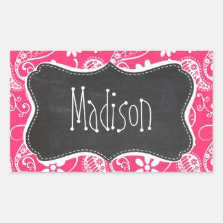 Hot Pink Paisley; Vintage Chalkboard Rectangular Sticker