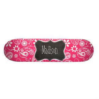 Hot Pink Paisley; Vintage Chalkboard Custom Skateboard