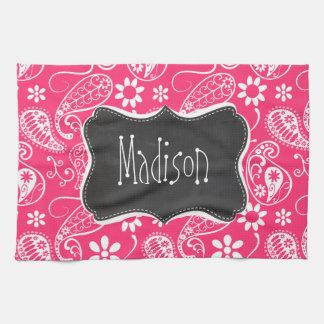 Hot Pink Paisley; Vintage Chalkboard Towel