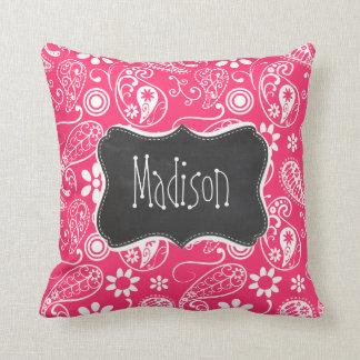 Hot Pink Paisley; Vintage Chalkboard Throw Cushion
