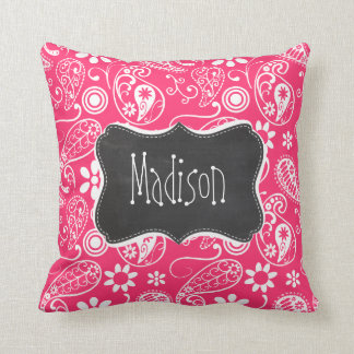 Hot Pink Paisley; Vintage Chalkboard Throw Pillow