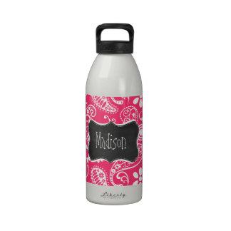 Hot Pink Paisley; Vintage Chalkboard Reusable Water Bottles