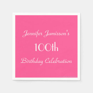 Hot Pink Paper Napkins, 100th Birthday Party Disposable Serviettes