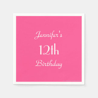 Hot Pink Paper Napkins, 12th Birthday Party Paper Napkin