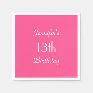 Hot Pink Paper Napkins, 13th Birthday Party Paper Napkin