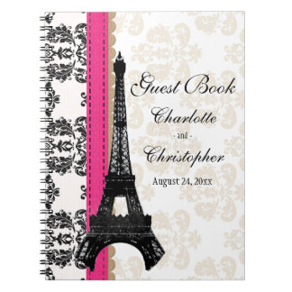 Hot Pink Parisian Eiffel Tower Wedding Guest Book