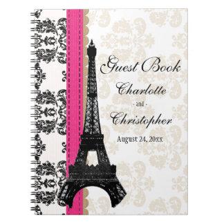 Hot Pink Parisian Eiffel Tower Wedding Guest Book Spiral Notebooks