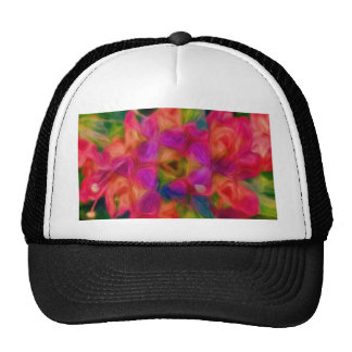 Hot Pink, Peach, and Lavender Floral Abstract Cap