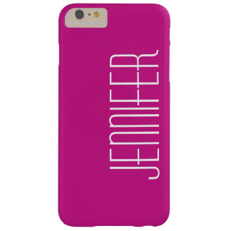 Hot Pink, Personalized, Jumbo Custom Name, Elegant Barely There iPhone 6 Plus Case