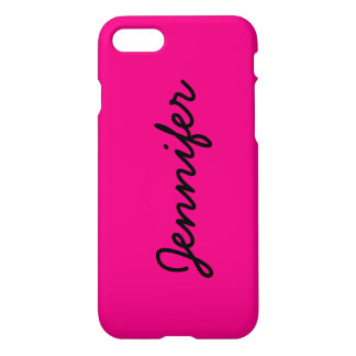 Hot Pink Personalized Name Monogram Bright Cool iPhone 7 Case