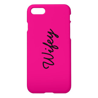 Hot Pink Personalized Name Monogram Wifey iPhone 7 Case