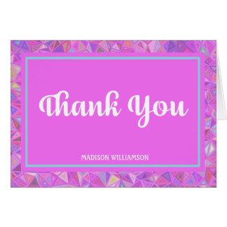 Hot Pink Personalized Thank You Note Card