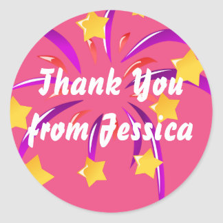 Hot Pink Personalized Thank You Sticker, Fireworks Round Sticker