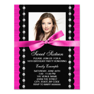 Hot Pink Photo Birthday Party 11 Cm X 14 Cm Invitation Card