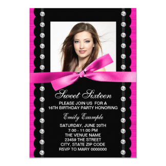 Hot Pink Photo Sweet 16 Birthday Party 13 Cm X 18 Cm Invitation Card