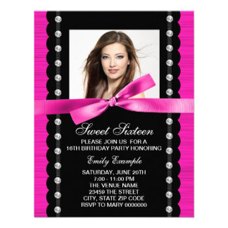 Hot Pink Photo Sweet 16 Birthday Party Personalized Invitations