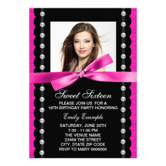 Hot Pink Photo Sweet 16 Birthday Party Custom Announcement