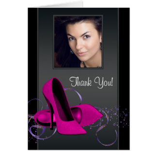 Hot Pink Photo Thank You Cards