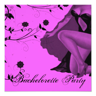 Hot Pink Pin Up Bachelorette Party 13 Cm X 13 Cm Square Invitation Card