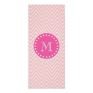 "Hot Pink, Pink Chevron | Your Monogram 4"" X 9.25"" Invitation Card"