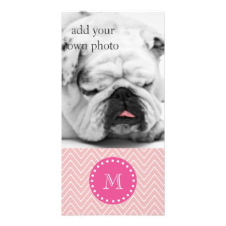 Hot Pink, Pink Chevron | Your Monogram Photo Cards