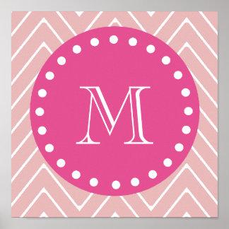 Hot Pink, Pink Chevron   Your Monogram Poster