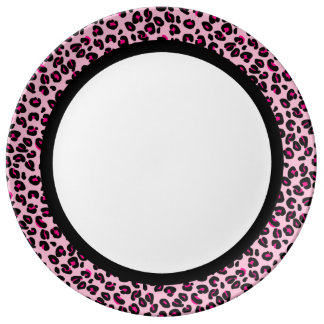 Hot Pink & Pink Leopard with Black Band on White Porcelain Plate