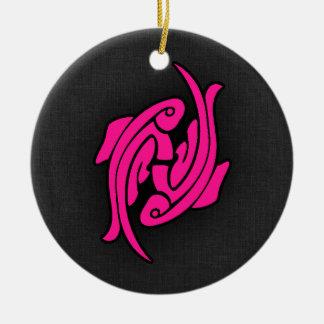 Hot Pink Pisces Fish Zodiac Sign Round Ceramic Decoration
