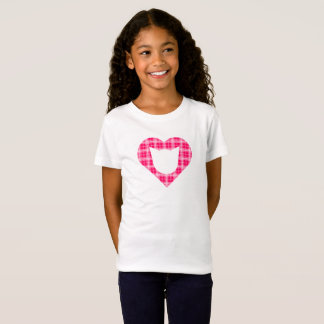 Hot Pink Plaid Cat-Heart Girls' T-Shirt