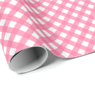 Hot Pink Plaid Print Glossy Wrapping Paper