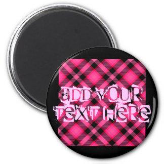 Hot Pink Plaid Punk Emo or Preppy Magnets