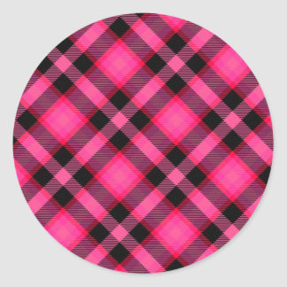 Hot Pink Plaid, Punk, Emo, or Preppy Round Stickers