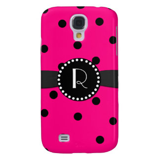 Hot Pink Polka Dot Monogram Samsung Galaxy S4 Samsung Galaxy S4 Cover