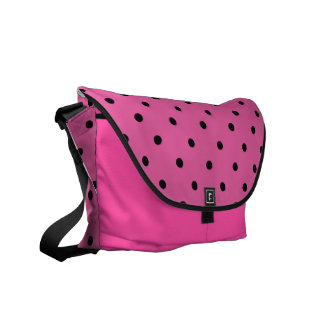 Hot Pink Polka Dot Overnight Bag Courier Bags