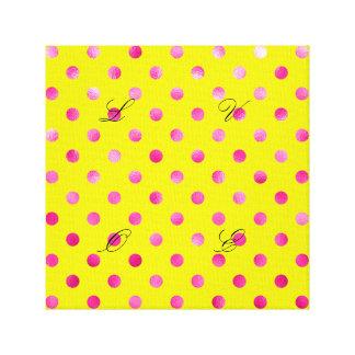 Hot pink,polka dot,yellow,girly,trendy,fun,pattern canvas print