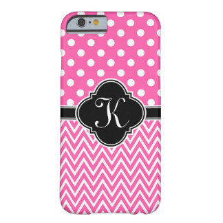 Hot Pink Polka Dots Chevron Quatrefoil Monogram Barely There iPhone 6 Case
