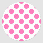 Hot Pink Polka Dots Classic Round Sticker