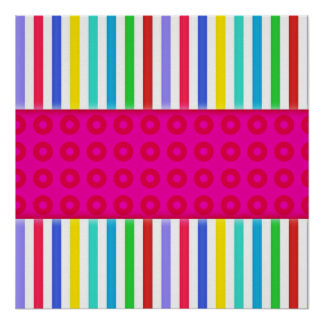 Hot Pink Polka Dots Colorful Stripes Pattern Posters
