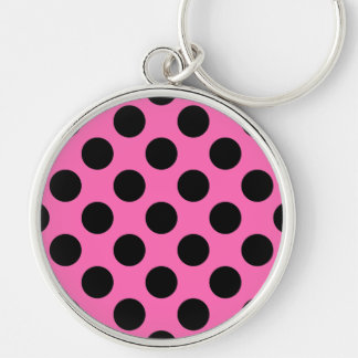 Hot Pink Polka Dots Keychains